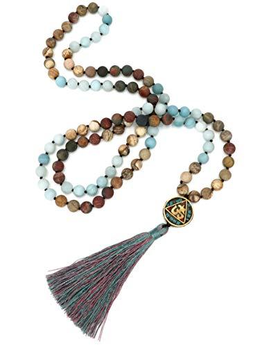BENAVA Damen Mala Halskette 108 Perlen aus matten Amazonit Edelstein mit Quaste und Mantra Anhänger