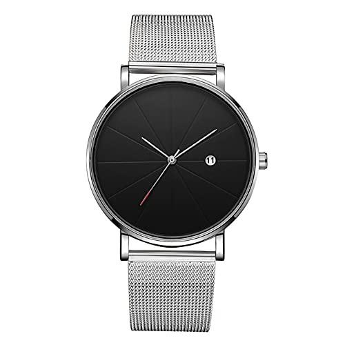 DSJSP Reloj de pulsera mecánico simple de cuarzo (correa de plata caja de plata esfera negra mano plateada)