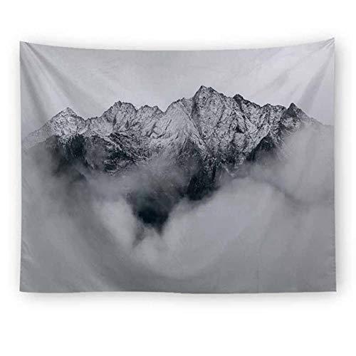 Tapiz de pared con paisaje natural gris con niebla para colgar en la pared, decoración de dormitorio, tapiz psicodélico
