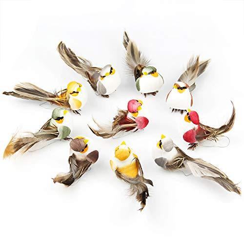 Yolococa Pájaros Artificiales con Pinzas Decoración de Árbol de Navidad Adornos de Pájaros (12 Unidades)