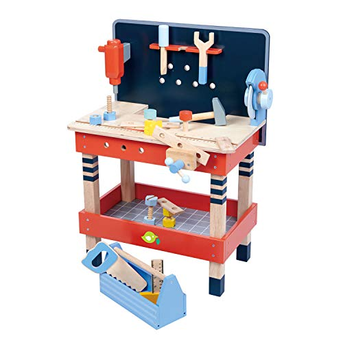 Tender Leaf Toys - Tender Leaf Tool Bench - 18 Pieces Pretend Play Construction Tool Set Made with Premium Materials and Craftsmanship - Creates Interest in DIY and Creative Role Play for Children 3+