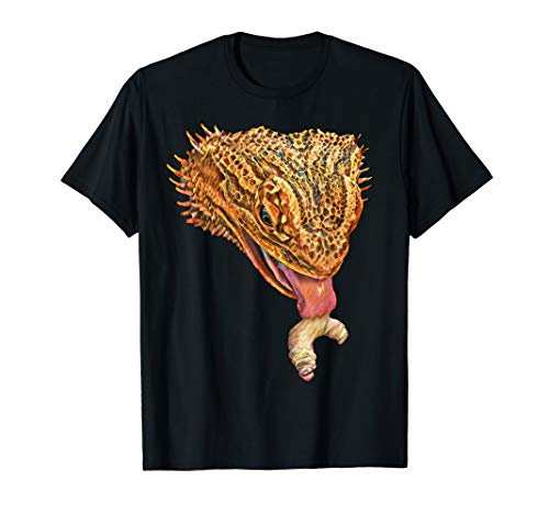 Bartagame, Eidechse, Reptil, Bearded Dragon EATING A WORM T-Shirt