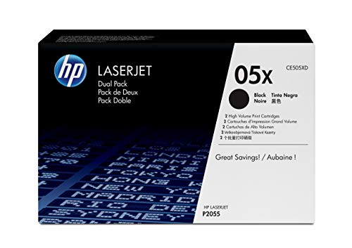 HP 05X | CE505XD | 2 Toner Cartridges | Black | High Yield