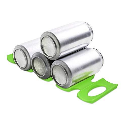 kwmobile Estante para almacenamiento de botellas en nevera - Apilador para latas de silicona - Botellero en verde