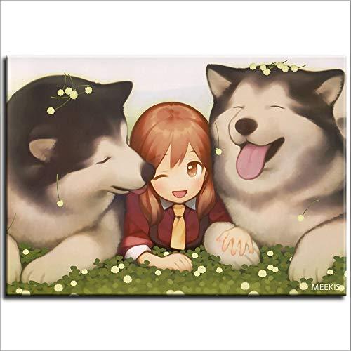 diy oil painting Little girl dog husky anime canvas bag household crafts 40X50(No Framed)