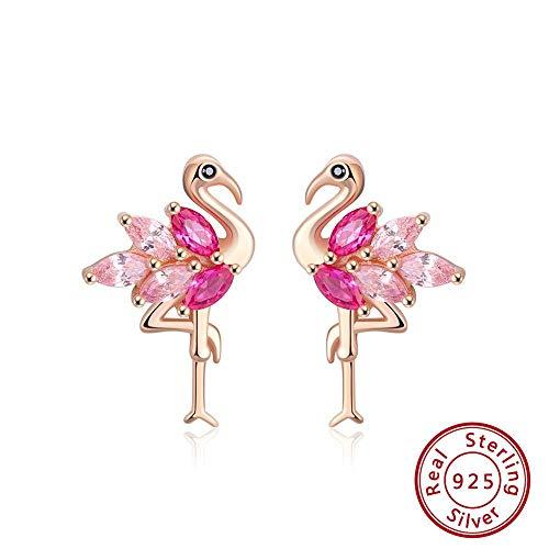 AdronQ 925 Silber Flamingo Form Ohrstecker Kombinieren Sie mit Rose & Pink AAAA Zirkon Ohrringe Schmuck