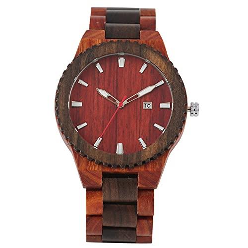 Relojes para Hombre de Madera de sándalo Rojo 2