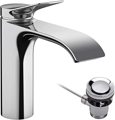 hansgrohe Waschtischarmatur Vivenis, Wasserhahn Bad mit Auslauf Höhe 110 mm, mit Zugstange, Badarmatur wassersparend, Chrom