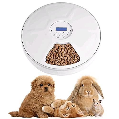 Lacyie Distributore Automatico Cibo Gatti, Dispenser Cibo Cani Alimentatore Automatico di Animali Domestici con Timer Digitale Controlla 6 Pasti Distributore Cibo Gatti, Cani e Piccoli Animali