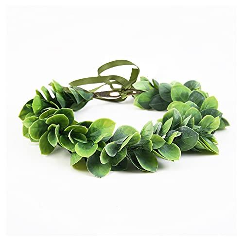 Artificial Green Leaf Crown Eucalyptus Flower Wreath Women Girls Bohemian Headpiece Floral Headband Photo Prop