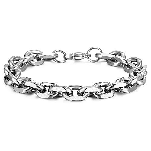 Trendsmax Unisex Oval Rolo Cable Chain Link Stainless Steel Bracelet Silver Tone 8 Inch