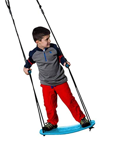 "Swurfer Kick Stand Up Outdoor Surfing Tree Swing for Kids Up to 150 Lbs - Hang from Up to 10 Feet High - Includes 24"" SwingBoard, UV Resistant Rope, & Handles"