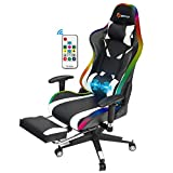 POWERSTONE White Gaming Chair with RGB Led Lights - Ergonomic Massage Pc Gaming Chair with Footrest Pu Leather High Back Adjustable Armrest Height Adjustable Swivel Office Computer Chairs, White