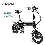 QoLeya FIIDO D1 Bicicleta Eléctrica, Bicicleta eléctrica Ligera Plegable 250W 36V con Pantalla LCD de llanta de 14 Pulgadas 3 Modos de conducción para Adultos Viaje Diario a la Ciudad