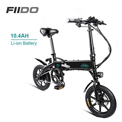 Fangteke FIIDO D1 Bicicleta eléctrica Bicicleta eléctrica Ligera Plegable 250W 36V con Pantalla LCD de llanta de 14 Pulgadas para Adultos Viaje Diario a la Ciudad