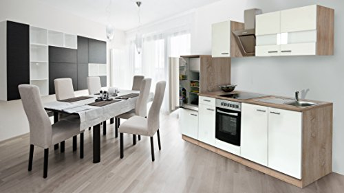 respekta inbouw keuken kitchenette 270 cm eiken Sonoma ruw gezaagd front wit keramische & designer afzuigkap