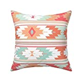 Yuanmeiju Square Cushion Cover,Coral Kilim,45x45cm Cotton Sofa Throw Funda de Almohada Set Home Decoration for Bedroom, Living Room, Couch, Car