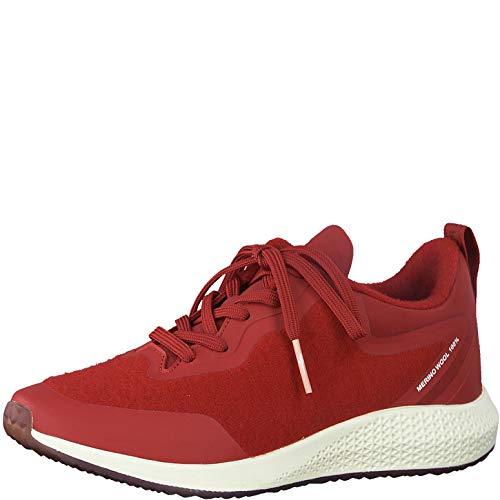 Tamaris Damen Schnürhalbschuhe 23734-24, Frauen sportlicher Schnürer, lose Einlage, schnürschuh strassenschuh Sneaker,Scarlet,39 EU / 5.5 UK