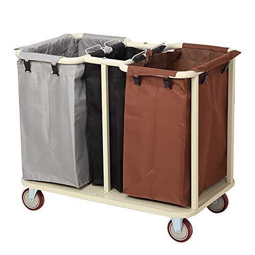 GJX Wäschekorb, Wäschesortierwagen mit 3 herausnehmbaren Taschen – kommerzielle Haushaltswagen – Stahlrahmen & robuste Räder