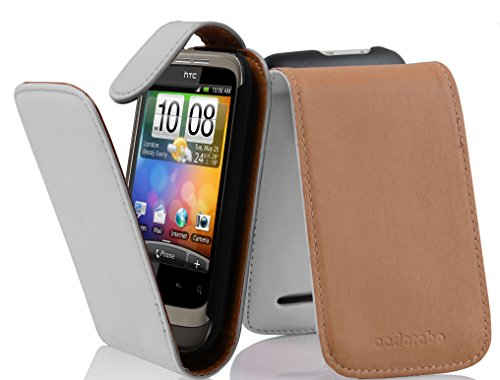 Cadorabo Funda para HTC Wildfire S in Blanco Polar - Cubierta Proteccíon Estilo Flip de Cuero Sintético Liso - Etui Case Cover Carcasa