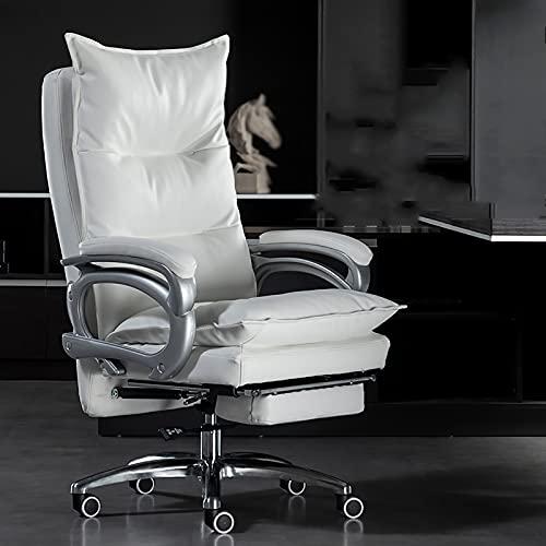 YDYBY Sedia da Gaming Ergonomica da Funzione,Sedia Ufficio Schiena Alta High Supporto Lombare Sedia direzionale Cuscino in Spugna con Poggiapiedi Tavoli e sedie,Bianca