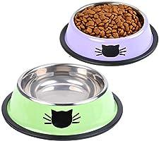 ANTOLE 2Pcs Cat Bowl Pet Bowl Stainless Steel Cat Food Water Bowl Non-Slip Rubber Base Small Pet Bowl Cat Feeding Bowls...