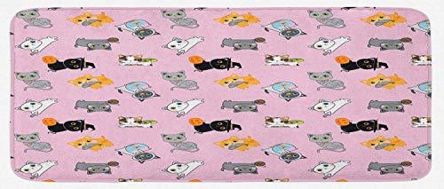Alfombra Ratón Alfombrilla de cocina para gatos, gatitos coloridos jugando con ratones peces y bolitas de diferentes razas de felinosAlfombrilla Raton 25 X 30CM