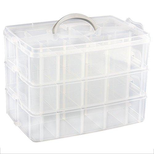 Gleader 3 Strati di Custodia in plastica di Gioielli Contenitore Gioielli separabile Trasparente