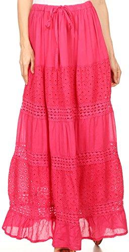 Sakkas 5290 - Genesis Lightweight Cotton Eyelet Skirt with Elastic Waistband - Fuschia - OS