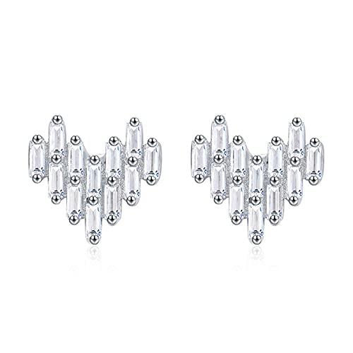 Pendientes de botón de corazón románticos de lujo de Plata de Ley 925 para mujer, joyería de compromiso de boda con CZ brillante y esmeralda de corte esmeralda, 1 CM