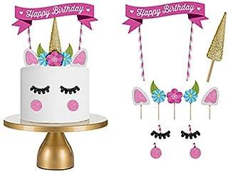 ピンク ユニコーン ケーキデコレーション ケーキトッパー Limpomme 配置メモ付き♪ Happy Birthday 誕生日 バースデー ケーキ お誕生日 子供用 キッズ 装飾品 飾り ケーキ 手作りケーキ ケーキ飾り デコレーション