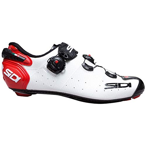 Sidi Schuhe Wire 2 Carbon, Fahrradschuhe für Herren, Weiß/Schwarz/Rot, 43