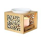 VOSAREA Di Legno di Ceramica Titolare Luce del tè Bruciatore di Olio Essenziale di Candela Aroma Diffusore per La Stazione Termale di Yoga di Meditazione Yoga