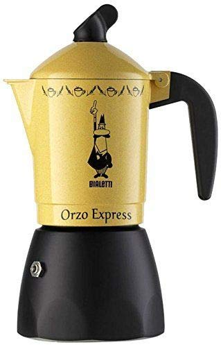 Bialetti . Caffettiera Orzo Express caffè Espresso Giallo 2 4 Tazze Alluminio (2 Tazze)