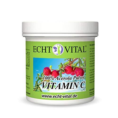 ECHT VITAL Vitamin C Pulver   100% Hochdosiertes Acerola Kirsche Extrakt   Natürliches Vit C   Laborgeprüft und hergestellt in Deutschland   Rein und vegan   100 g
