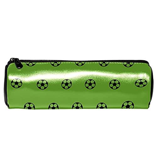 Estuche de piel verde con patrón de fútbol deportivo para lápices, monedero, bolsa de maquillaje para estudiantes, papelería, escuela, trabajo, oficina, almacenamiento
