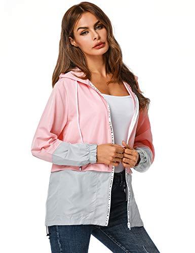 ZEGOLO Women's Raincoats Waterproof Packable Windbreaker Lightweight Active Outdoor Hooded Rain Jacket S-XXL