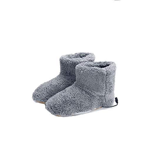 WDEF Scarpe scaldapiedi riscaldate invernali, pantofole scaldapiedi USB, scarpe scaldapiedi riscaldate per donna uomo (Gray)