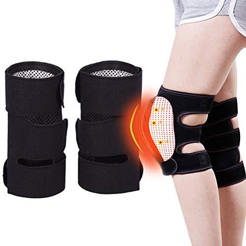Amiispe Magnetisch Kniebandage 1 Paar Kniescheibe gegen Knieschmerzen Turmalin Autonome Heizung Knieschützer Verstellbar Kompressions
