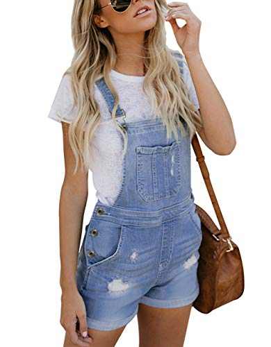 Happy Sailed Happy Sailed Damen Kurz Jeanslatzhose Denim Overall Jumpsuit Playsuit Jeans Hosenanzug Romper S-XXL, 2 Hellblau, Large (EU44-EU46)