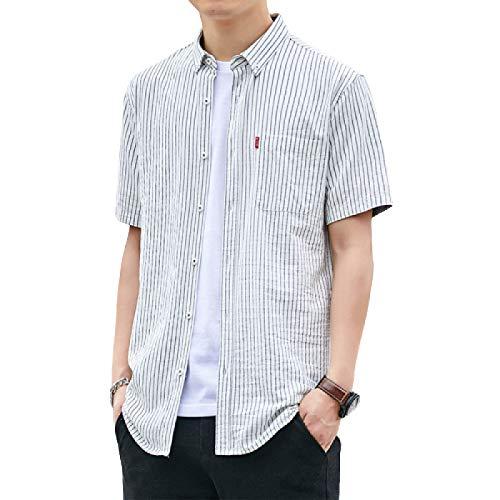 Camisa de Rayas para Hombre Camisa de Manga Corta con Botones de Ajuste Regular Fácil Cuidado Camisas Casuales Simples de Cambray Dobladillo Irregular Medium