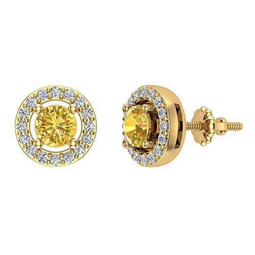Pendientes de oro amarillo de 14 quilates Pendientes de piedra de nacimiento con halo de diamantes citrino Noviembre Distinto de 0,70 quilates de peso total Postes de rosca certificados