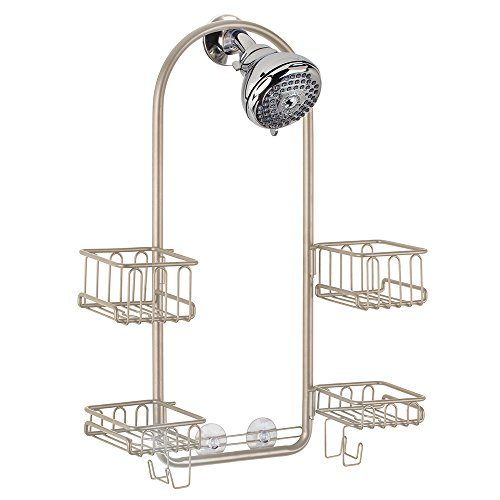 InterDesign Classico Handheld Shower Head Bathroom Caddy – Storage Shelves for Tall Shampoo and Conditioner Bottles, Satin