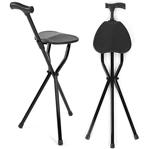 Składany kij do siedzenia Krücke Chair 2 w 1, wielofunkcyjny, lekki statyw, kijek do spacerów i siedzenia, dla starszych osób Disability Aid 3 nogi, taboret z uchwytem i nakładkami na stopy zapobiegającymi ślizganiu się, czarny