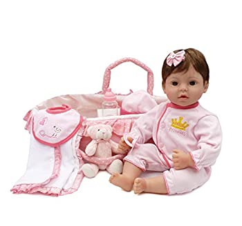 CHAREX Reborn Baby Doll Handmade Lifelike Realistic Vinyl Girl Doll 18 inch Weighted Soft Body Toy Gift Set