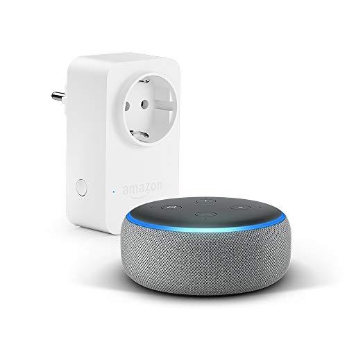Echo Dot (3ª generazione) - Tessuto grigio mélange + Amazon Smart Plug,...