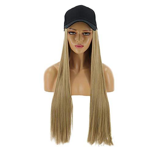 Clicke Casquette avec 62cm de Cheveux synthétiques Extensions Chapeau Cheveux raides Longs postiche Chapeaux Attached postiches Perruque pour Les Femmes Daily Party Utilisation,A