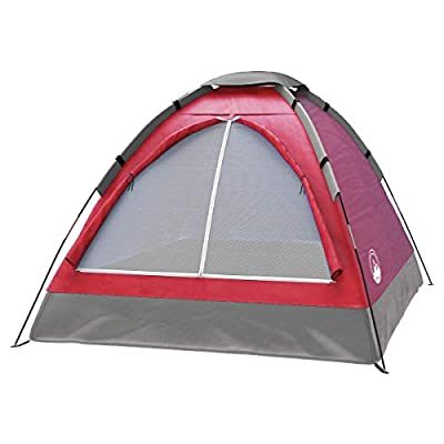 2-Person Tent, Dome Tents for Camping with Carry Bag by Wakeman Outdoors (Camping Gear for Hiking, Backpacking, and Traveling) - RED
