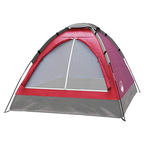 2-Person Tent, Dome Tents for Camping with Carry Bag by Wakeman Outdoors (Camping Gear for Hiking, Backpacking, and Traveling) - RED , 6.25' x 4.80' x 3.50'