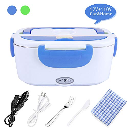 Electric Lunch Box, 2 in 1 Portable Heated Lunch Box for Car, Truck, Home, office 12V&110V, Removable Food-Grade PP Container Stainless Steel Container 1.5L